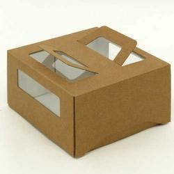 Упаковка для торта 1 кг. 21х21х12 см. Бурая с окошками 1