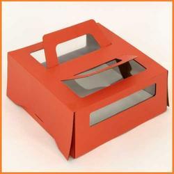 Упаковка для торта 1,5 кг. 26х26х13 см. Оранжевая с окошками 1