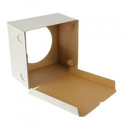 Упаковка для торта 2 кг. 24х24х22 см. Белая с окошком картон 1