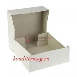 Упаковка для торта 2 кг. 32,5х32,5х12 см. Белая цельносборная 1
