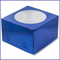 Коробка для торта х/э 24х24х18 см. Син/окно 1