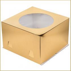 Коробка для торта х/э 26х26х18 см. Зол/окно 1