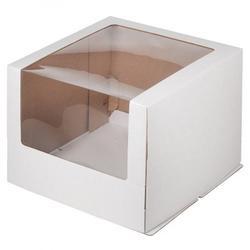 Упаковка для торта 2 кг. 26х26х21 см. Белая большое окошко 1