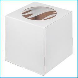 Упаковка для торта 2 кг. 28х28х30 см. Белая 3 части с окошком 1