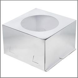 Коробка для торта х/э 28х28х18 см. Серебр/окно 1