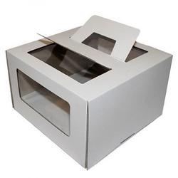 Упаковка для торта 3 кг. 28х28х20 см. Белая с окошком 1