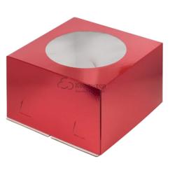 Упаковка для торта 3 кг. 30х30х19 см. Красная с окошком хром-эрзац 1