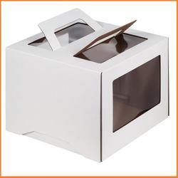 Упаковка для торта 3 кг. 30х30х22 см. Белая с окошками и ручкой 1