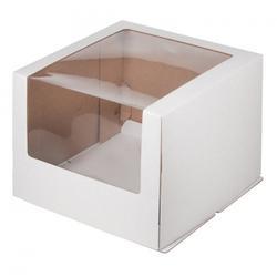 Упаковка для торта 3 кг. 30х30х22 см. Белая с большим окошком 1