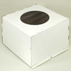 Упаковка для торта 5 кг. 40х40х30 см. Белая с окошком 4 части 1