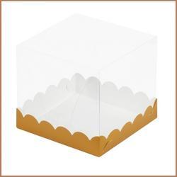 Коробка для торта Кристалл 15х15х14 см. Зол/прозр. купол 1