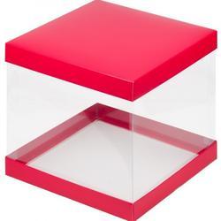 Упаковка для торта Кристалл 26х26х28 см. красная 1