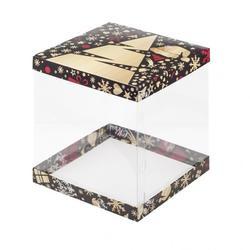 Упаковка для торта Кристалл 30х30х28 см. Елка чер/зол 1