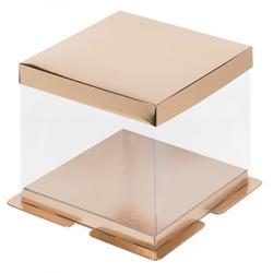 Упаковка для торта Кристалл 30х30х22 см. золото с пьедесталом 1