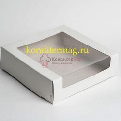 Упаковка для торта 1,2 кг. 22,5х22,5х11 см. Белая цельносборная с окошком 1