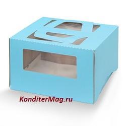 Упаковка для торта 1 кг. 21х21х12 см. Голубая с окошками 1