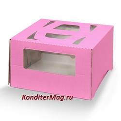 Упаковка для торта 1 кг. 21х21х12 см. Розовая с окошками 1