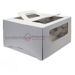 Упаковка для торта 1 кг. 21х21х12 см. Белая с окошками 1