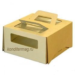 Упаковка для торта 1 кг. 21х21х12 см. Бежевая с окошками 1