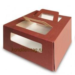 Упаковка для торта 2 кг. 30х30х17 см. Шоколадная с окошками 2