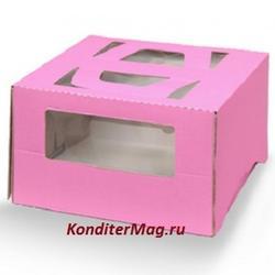 Упаковка для торта 1,5 кг. 26х26х13 см. Розовая с окошками 1