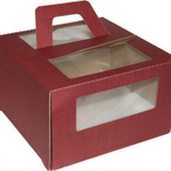 Упаковка для торта 2 кг. 30х30х17 см. Шоколадная с окошками 1