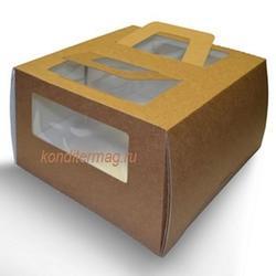 Коробка для торта 30х30х17 см. Бур/окно 1