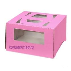 Коробка для торта 30х30х17 см. Роз/окно 1