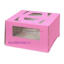 Упаковка для торта 2 кг. 30х30х17 см. Розовая с окошками 1
