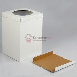 Упаковка для торта 4 кг. 30х30х45 см. Белая 3 части с окошком 1