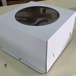 Коробка для торта 30х30х19 см. Бел/окно 1