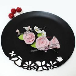 Украшение сахарное Букет Розы розовые 1