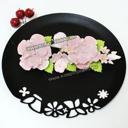 Украшение сахарное Букет шиповник розовый 2