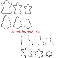 Формочка для печенья Новый год 12 шт. металл 1