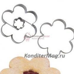 Формочка для печенья Цветок с начинкой 4 см. металл Tescoma 2