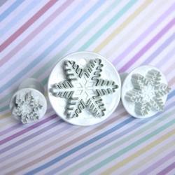 Формочка для печенья-плунжер Снежинка резная малая 2,5 см. пластик 1