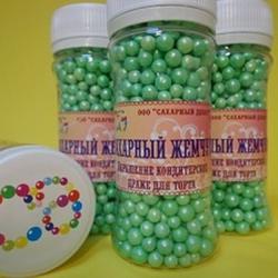 Декор сахарные Шарики зеленые перламутровые 3 мм. Жемчуг 100 г. 1