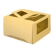 Упаковка для торта 2 кг. 30х30х17 см. Бежевая с окошками 1